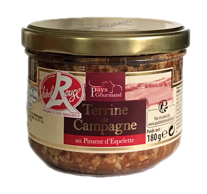 Terrine de Campagne Piment d'Espelette 180g Label Rouge